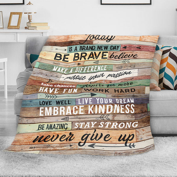 """Today Is A Brand New Day"" Premium Fleece Blanket"