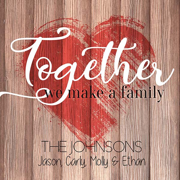 "Personalized ""Together We Make a Family"" Premium Canvas"