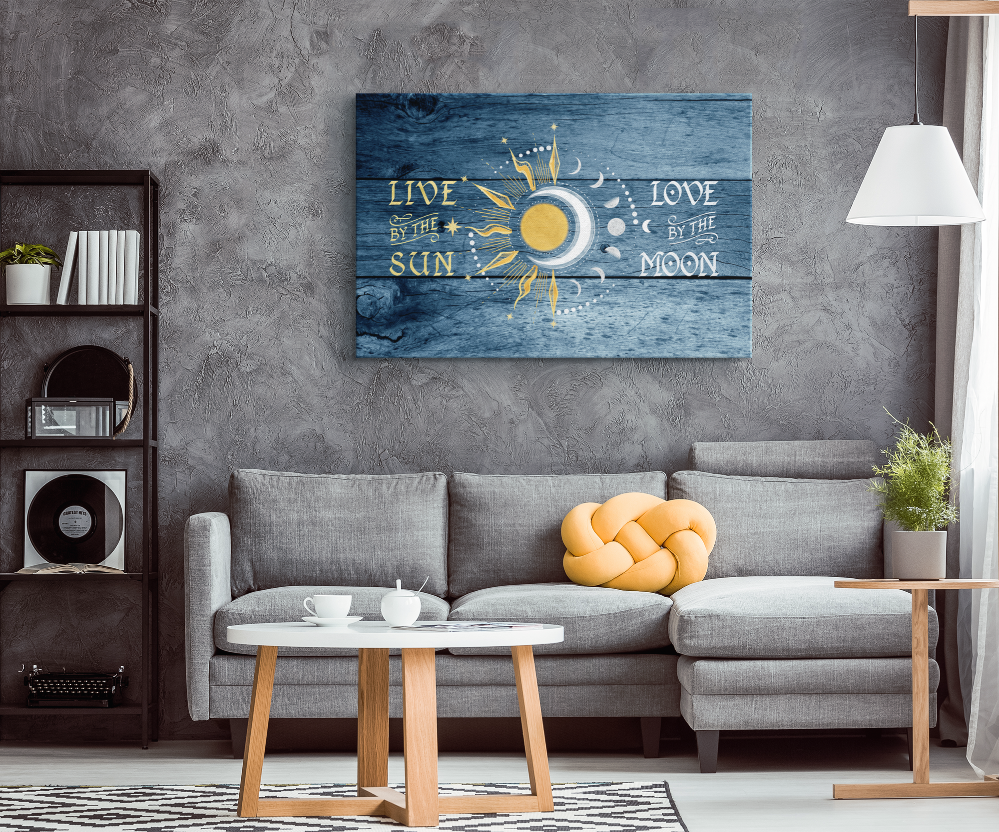 """Live By The Sun, Love By The Moon"" Premium Rustic Canvas"
