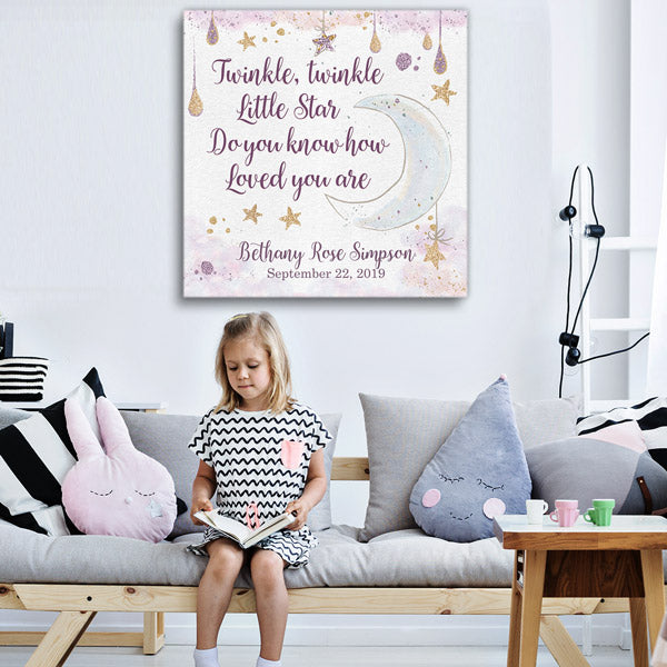 "Personalized ""Twinkle Twinkle Little Star"" Premium Canvas Wall Art"