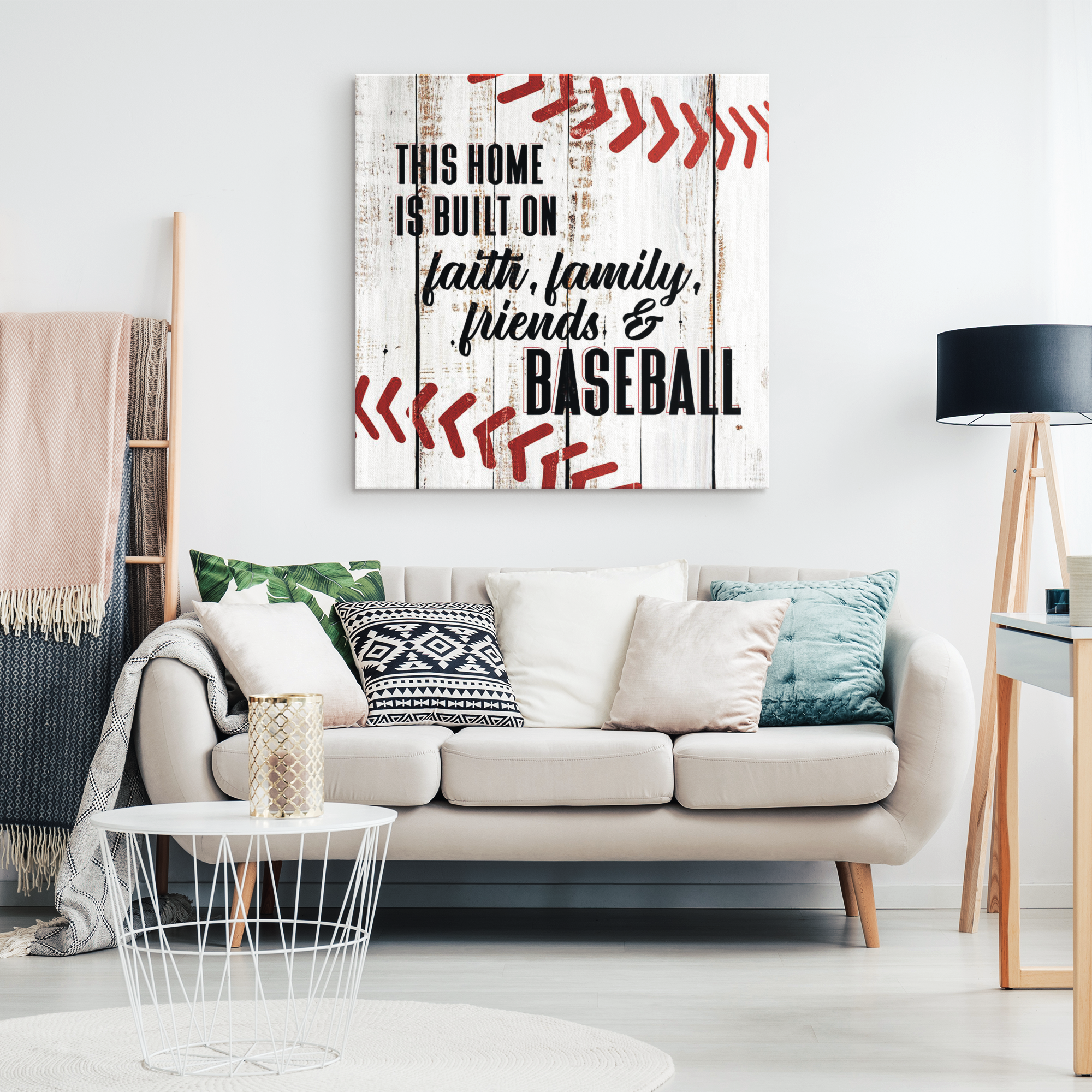 """Home Built On Faith Family, Friends & Baseball"" Premium Canvas"
