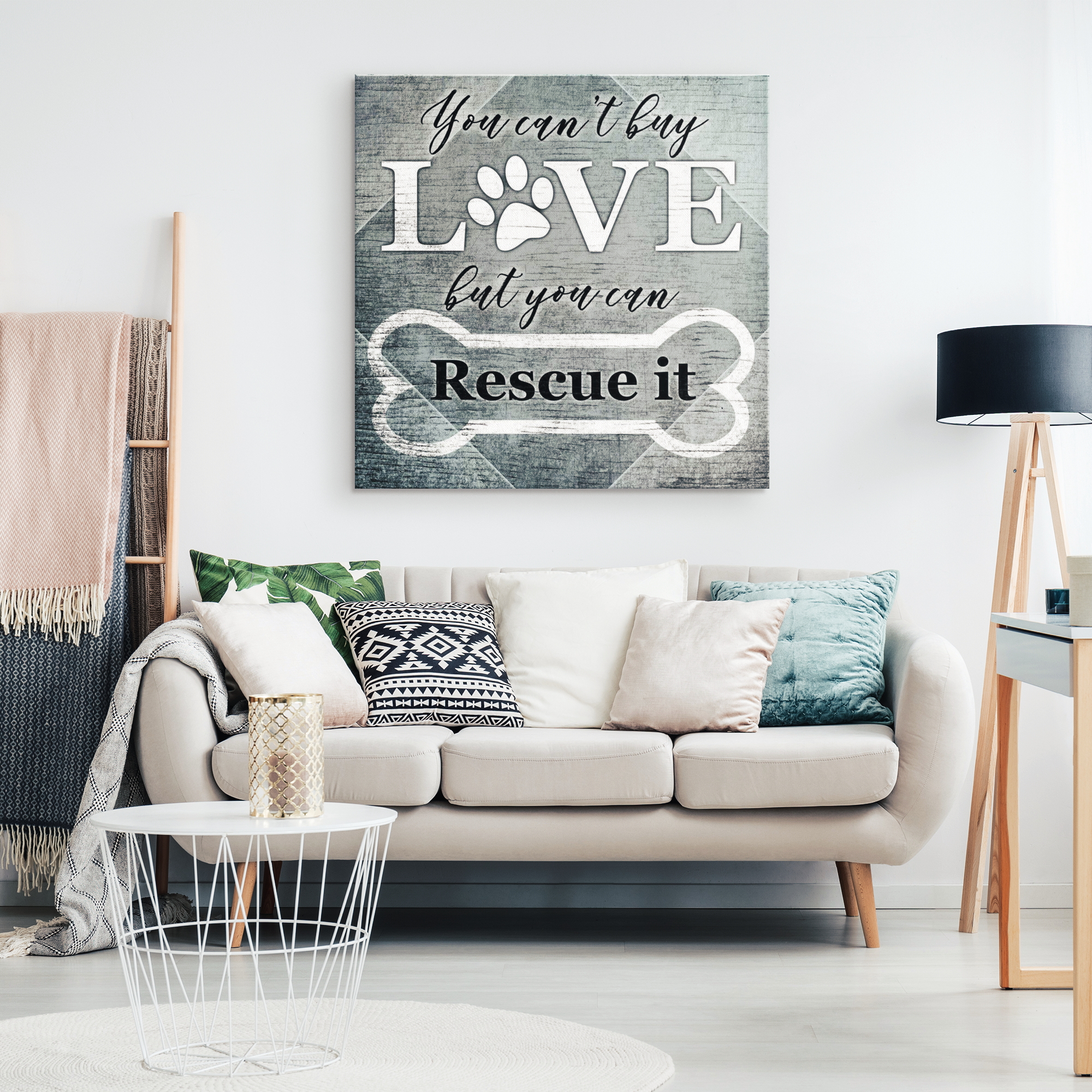 """You Can't Buy Love - But You Can Rescue It"" Premium Canvas"