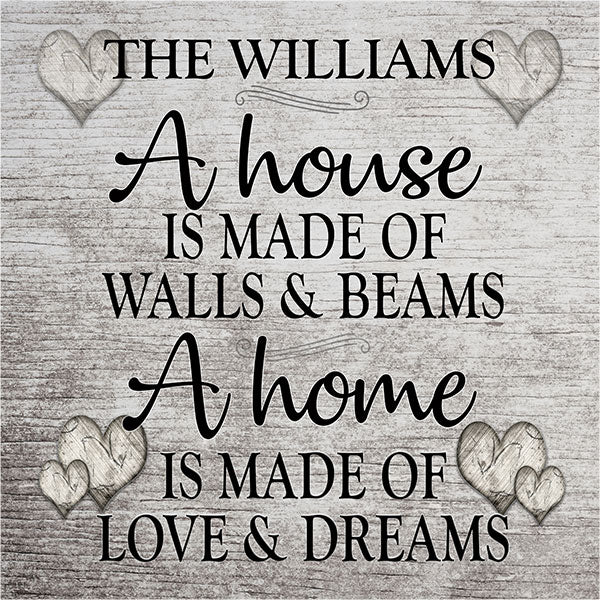 "Personalized ""A Home Is Made of Love.."" Premium Canvas"