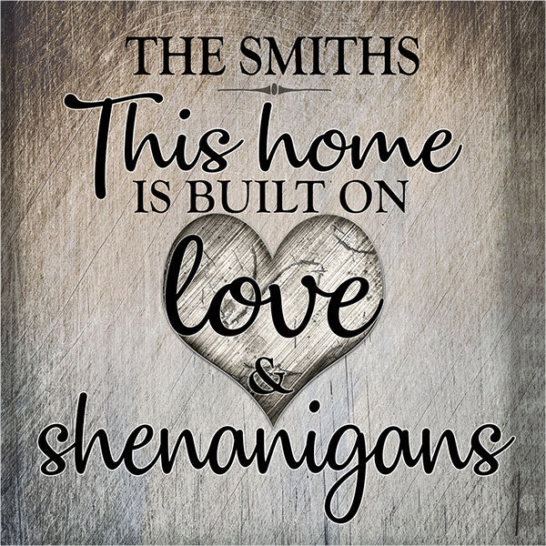 "Personalized ""Love and Shenanigans"" Premium Canvas"