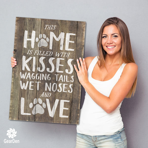 """This Home is Filled With Kisses, Wagging Tails, Wet Noses & Love"" Premium Canvas"
