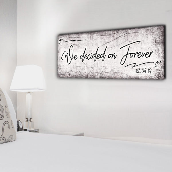 "Personalized ""We Decided On Forever"" Premium Panoramic Canvas"