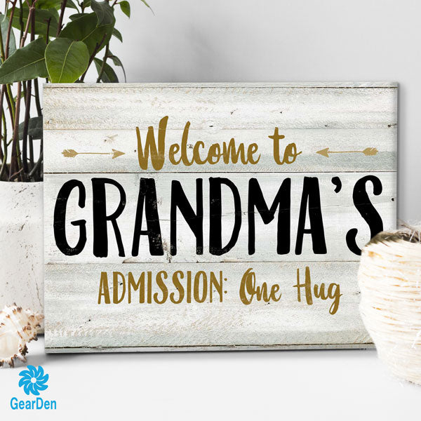 """Welcome To Grandma's"" Premium Canvas"