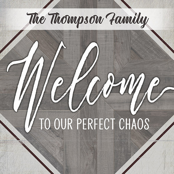 "Personalized ""Welcome To Our Perfect Chaos"" Premium Canvas"