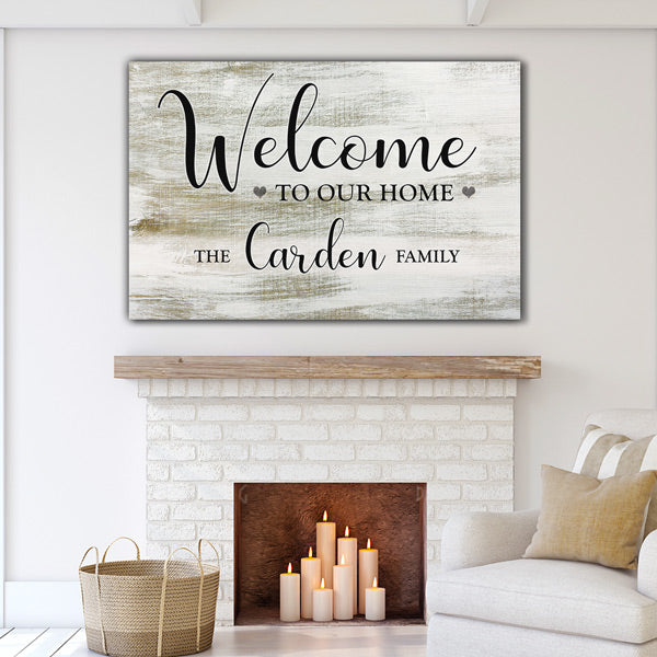 "Personalized ""Welcome To Our Home"" Premium Canvas"