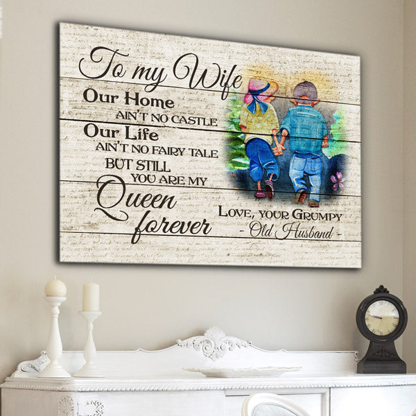 """To My Wife - You Are My Queen Forever"" Premium Canvas"