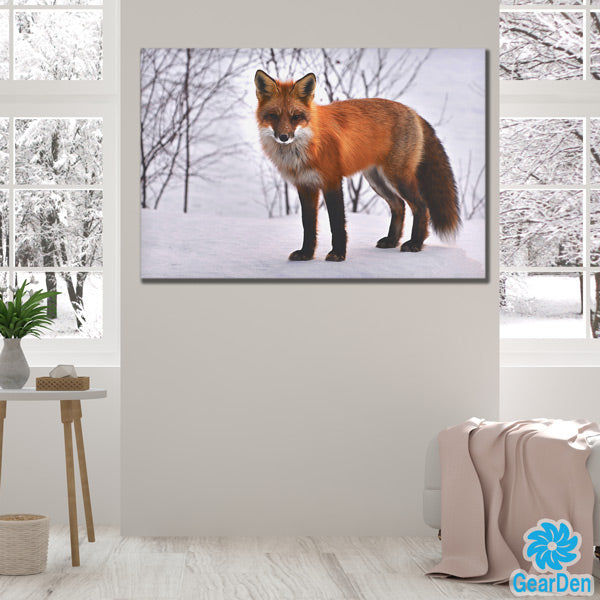 winter fox in snow photograph wall art canvas print