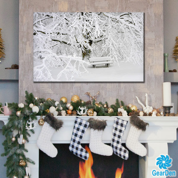 """Winter Snow Bench"" Premium Canvas"