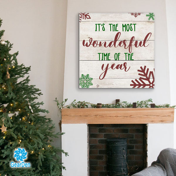 """Most Wonderful Time Of The Wear"" Premium Canvas wall art christmas"