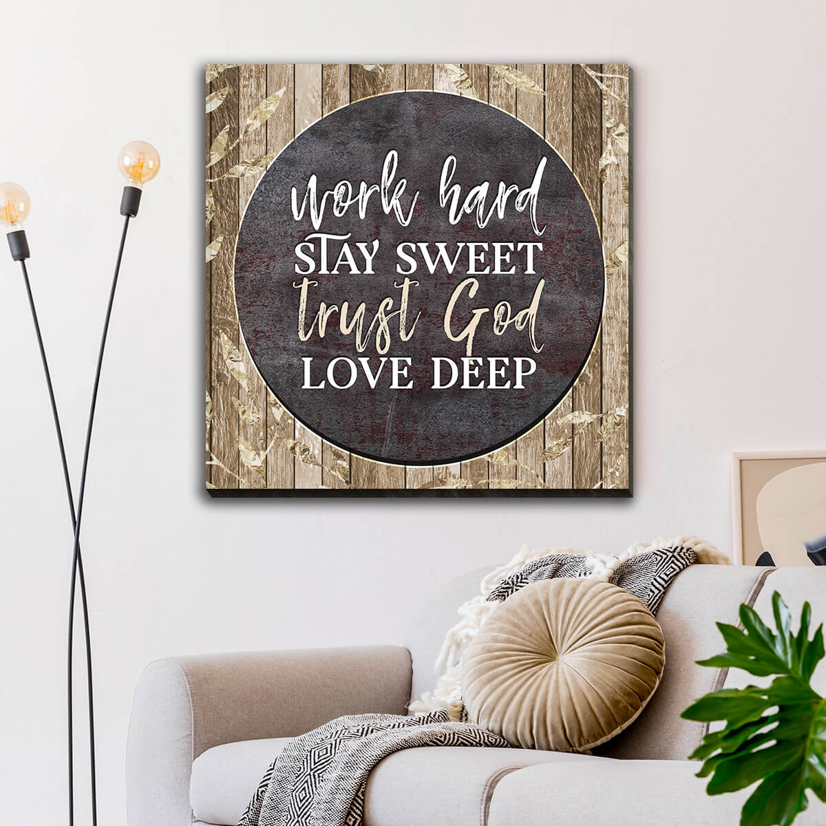 """Work Hard, Trust God, Love Deep"" Premium Canvas Wall Art"