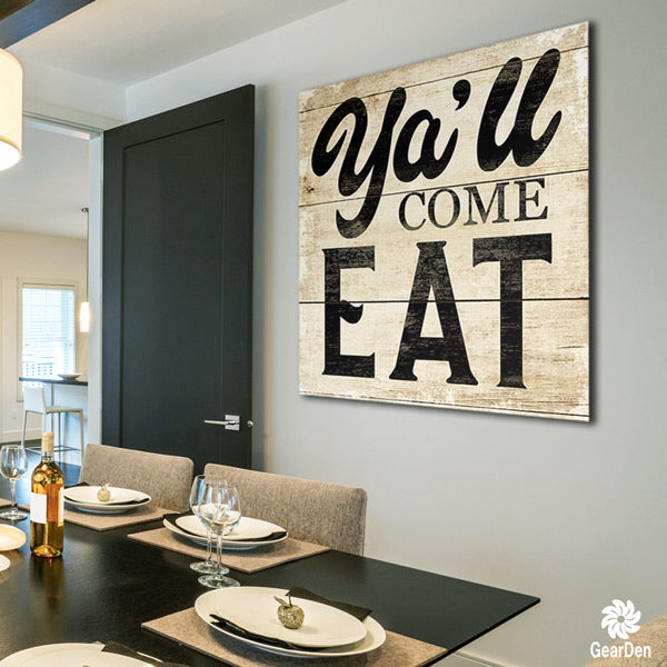 """Ya'll Come Eat"" Canvas Wall Art"