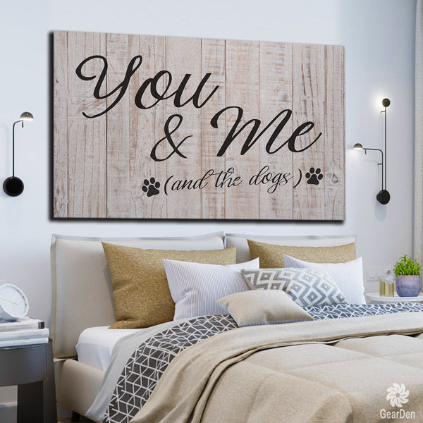 you and me and the dogs plain wood style canvas wall art