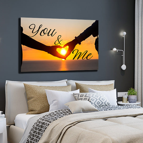 you and me sunset couples gift premium canvas