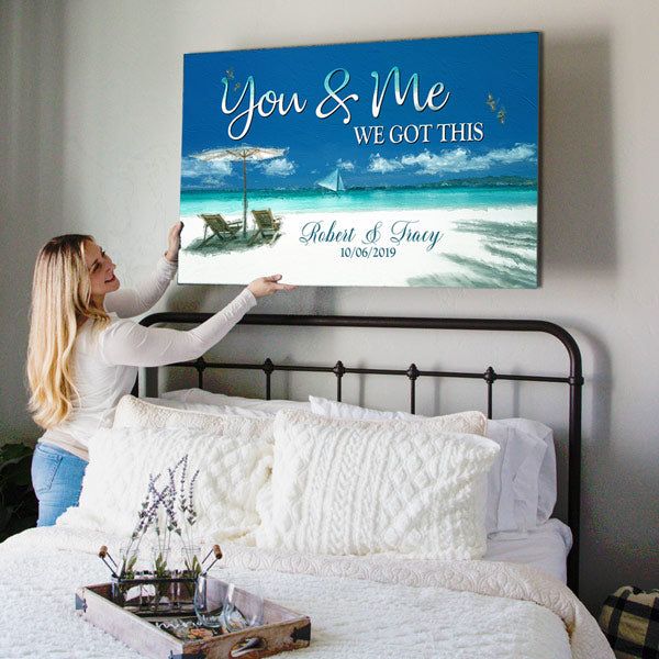 "Personalized ""Sea View You & Me We Got This"" Premium Canvas Wall Art"