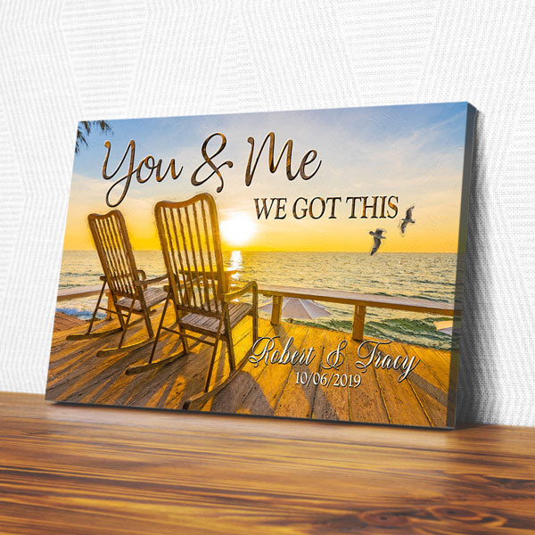 "Personalized ""Sunset - You & Me We Got This"" Premium Canvas"