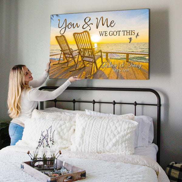 "Personalized ""Sunset - You & Me We Got This"" Premium Canvas Wall Art"