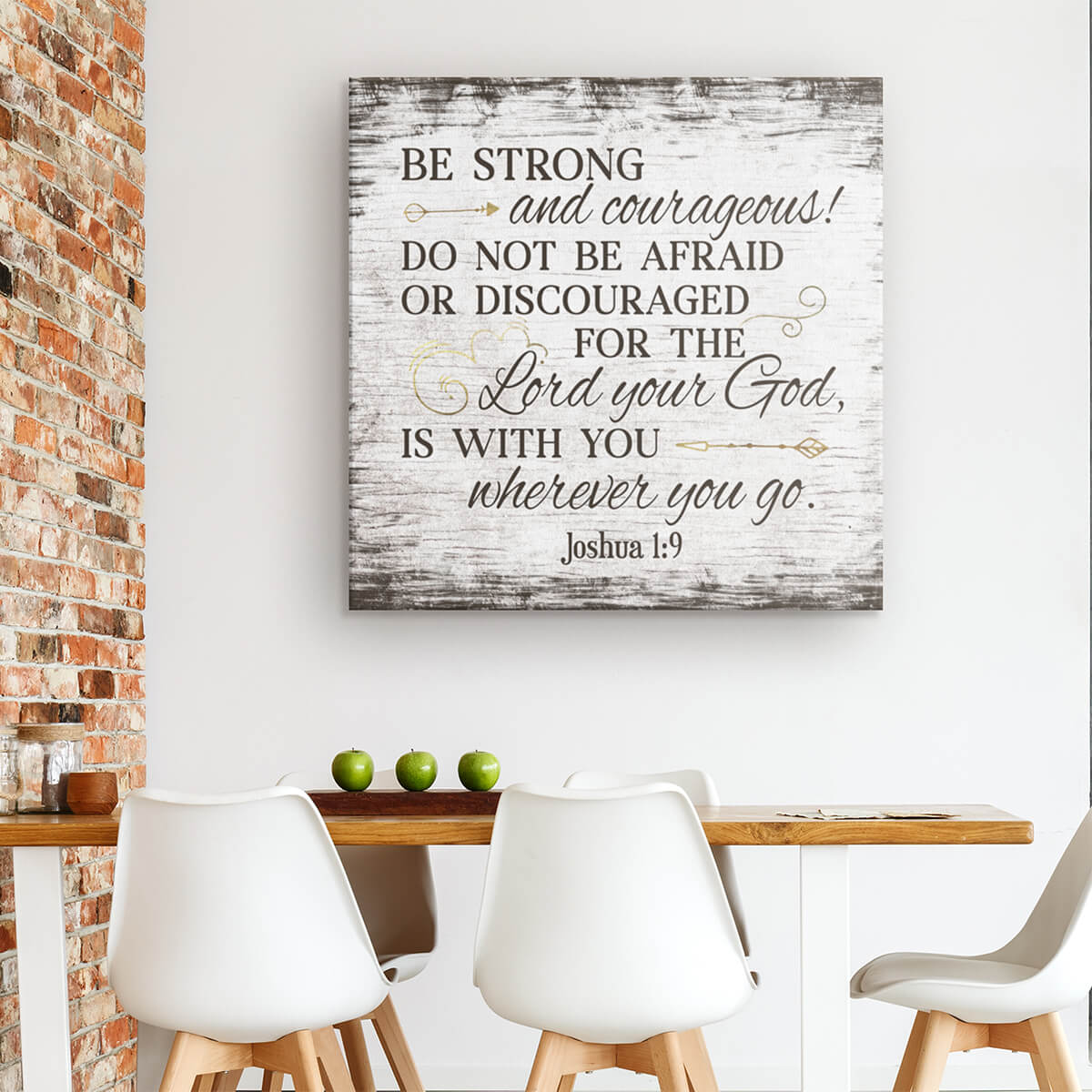 """Be Strong And Courageous"" Premium Canvas"