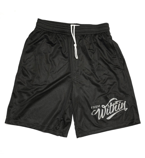 From Within Script Logo Mesh Shorts - Black