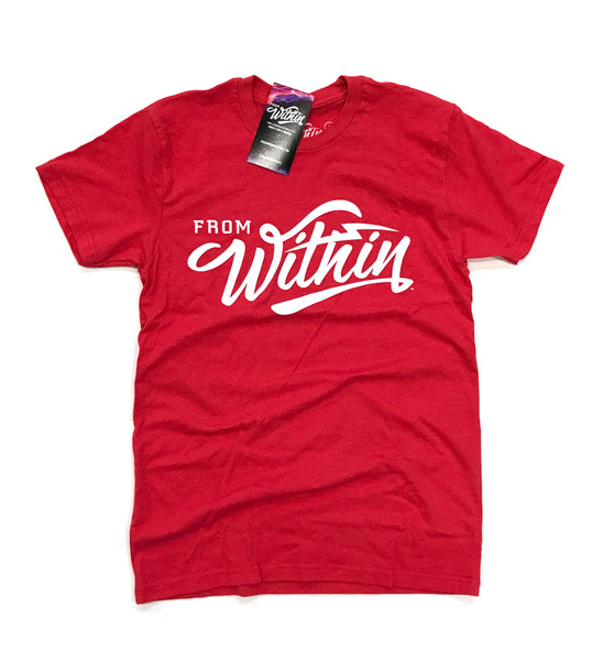 From Within Script Logo Shirt - Red/White