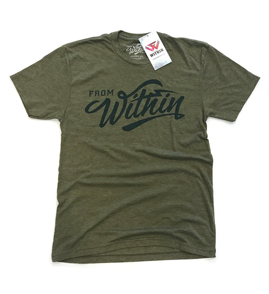 From Within Script Logo Shirt - Camo Green
