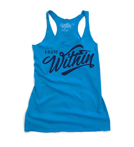 Womens From Within Script Racerback Tank Top - Turquoise