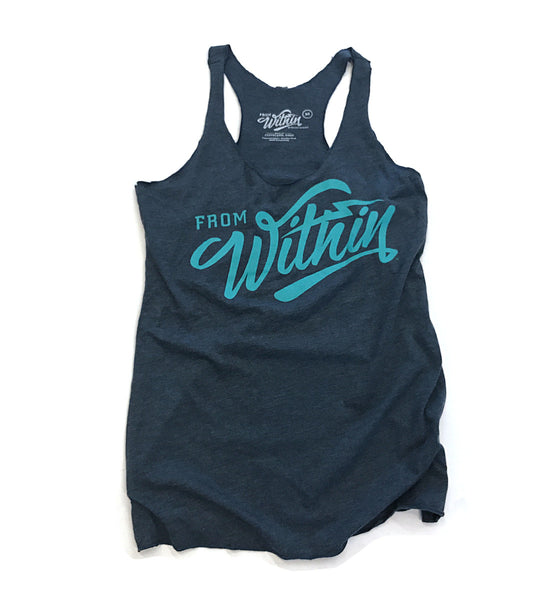 Womens From Within Script Racerback Tank Top - Vintage Navy