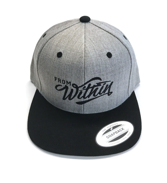 From Within Script Logo Snap Back Hat - Grey/Black