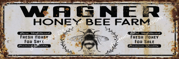 Custom Honey Bee Farm Sign
