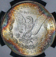 1878-S Morgan Silver Dollar NGC MS62 Fire Rainbow Color Toned