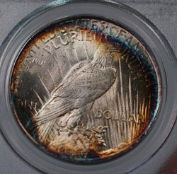 1922 Silver Peace Dollar PCGS MS63 Superb Rainbow Color Toned Gem