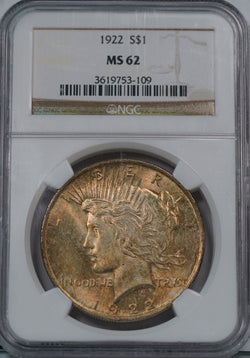 1922 Silver Peace Dollar NGC MS62 Rainbow Color Toned Gem
