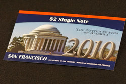 $2 Single Dollar Bill 2010 NOTE BEP SERIES 2003A San Francisco Mint w/ Display