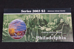 1 Rare 16K Printed Philadelphia 2003 $2 Dollar Bill Star Note In Original BEP