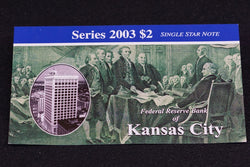 1 Rare 16K Printed Kansas 2003 $2 Dollar Bill Star Note In Original BEP Folder