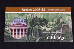 1 Rare 16K Printed Chicago 2003 $2 Dollar Bill Star Note In Original BEP Folder