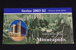 1 Rare 16K Printed Minneapolis 2003 $2 Dollar Bill Star Note Original BEP Folder