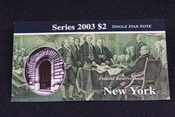 1 Rare 16K Printed New York 2003 $2 Dollar Bill Star Note In Original BEP Folder