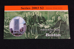 1 Rare 16K Printed Boston 2003 $2 Dollar Bill Star Note In Original BEP Folder