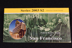 1 Rare 16K Printed San Francisco 2003 $2 Dollar Bill Star Note In Original BEP