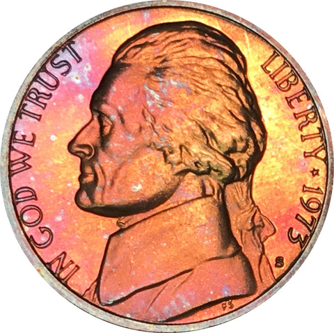 1973-S Jefferson Nickel BU Proof Rainbow Color Toned Gem