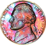 1977-S Jefferson Nickel BU Proof Rainbow Color Toned Gem