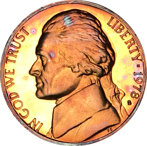 1978-S Jefferson Nickel BU Proof Rainbow Color Toned Gem