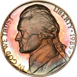 1985-S Jefferson Nickel BU Proof Rainbow Color Toned Gem