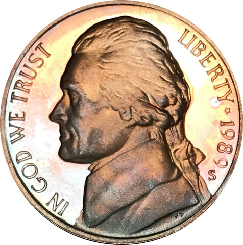 1989-S Jefferson Nickel BU Proof Rainbow Color Toned Gem