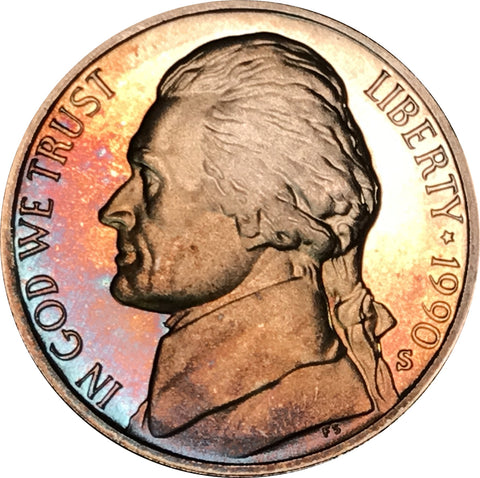 1990-S Jefferson Nickel BU Proof Rainbow Color Toned Gem