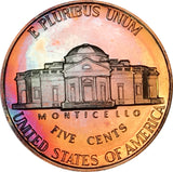 1991-S Jefferson Nickel BU Proof Rainbow Color Toned Gem